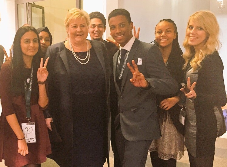 Norwegian Prime Minister Erna Solberg makes time to meet with RF Young Leaders during their Youth exchange visit to the Nobel Peace Prize.