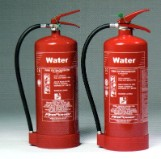 9 LITRE WATER FIRE EXTINGUISHER. - PAPER, WOOD, TEXTILES & FABRICS.* NOT TO BE USED ON ELECTRICAL FIRES.