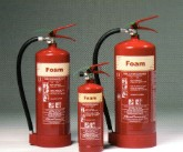 THE 2,6,9 LITRE FOAM EXTINGUISHERS. - FOR USE ON: PAPER, WOOD, TEXTILES & FABRIC. FLAMMABLE LIQUIDS.