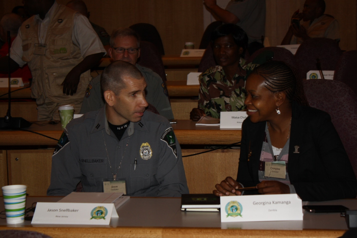 Jason Snellbacker of New Jersey (left) and Georgina Kamanga of Zambiaboth (right), are wildlife conservation professionals who attended the National Association of Conservation Law Enforcement Chiefs' Leadership Academy and the International Conservation Chief's Academy