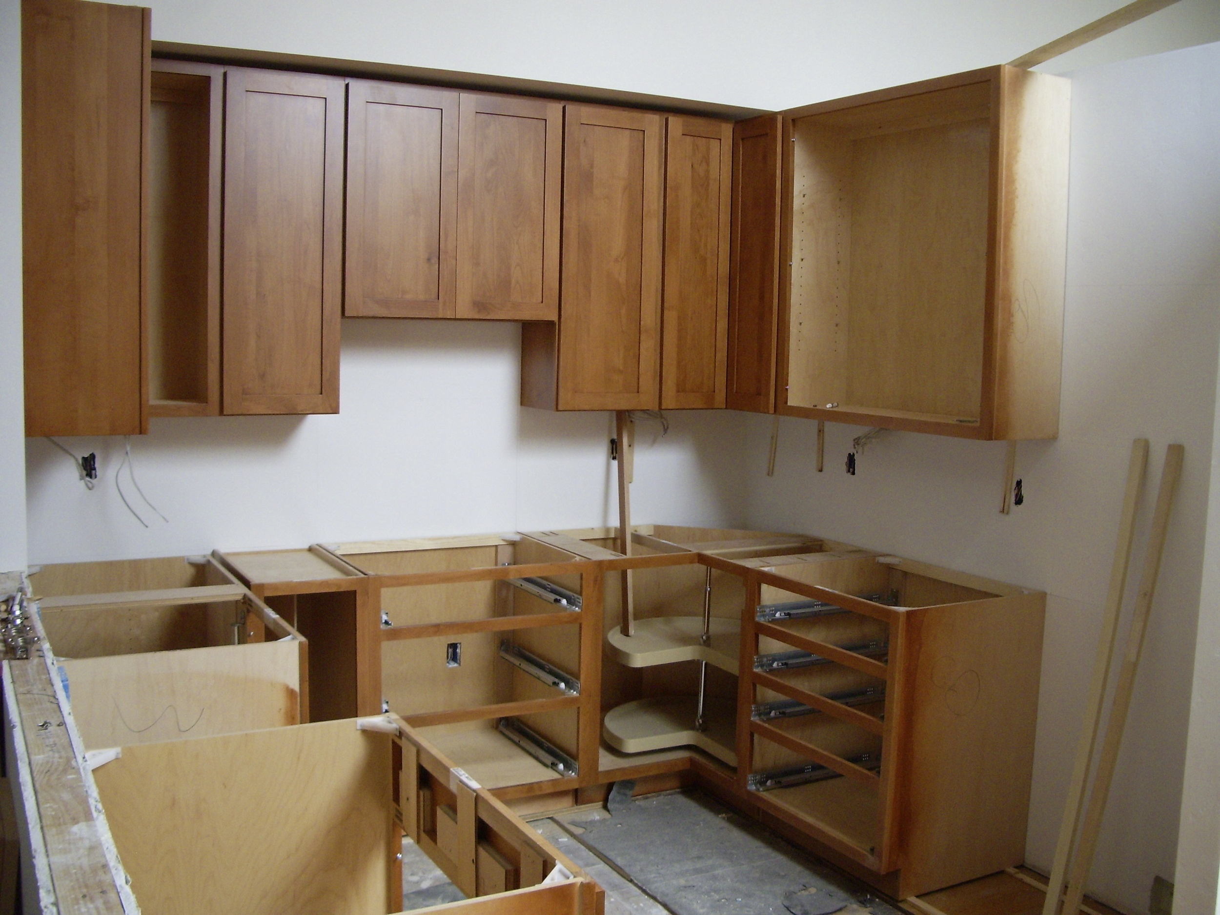 Kitchen cabinets going in.
