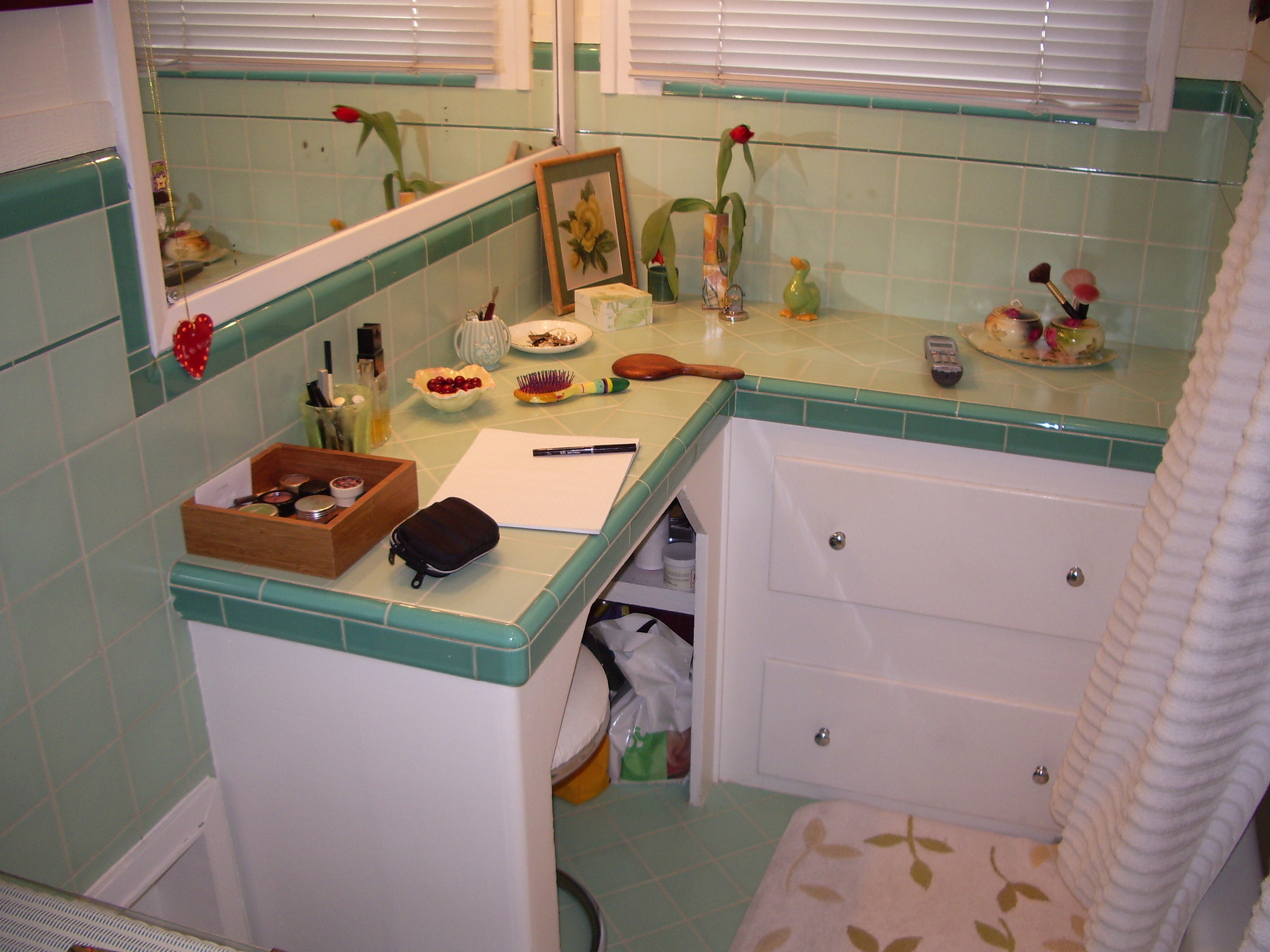 Before:Makeup counter and cabinet.