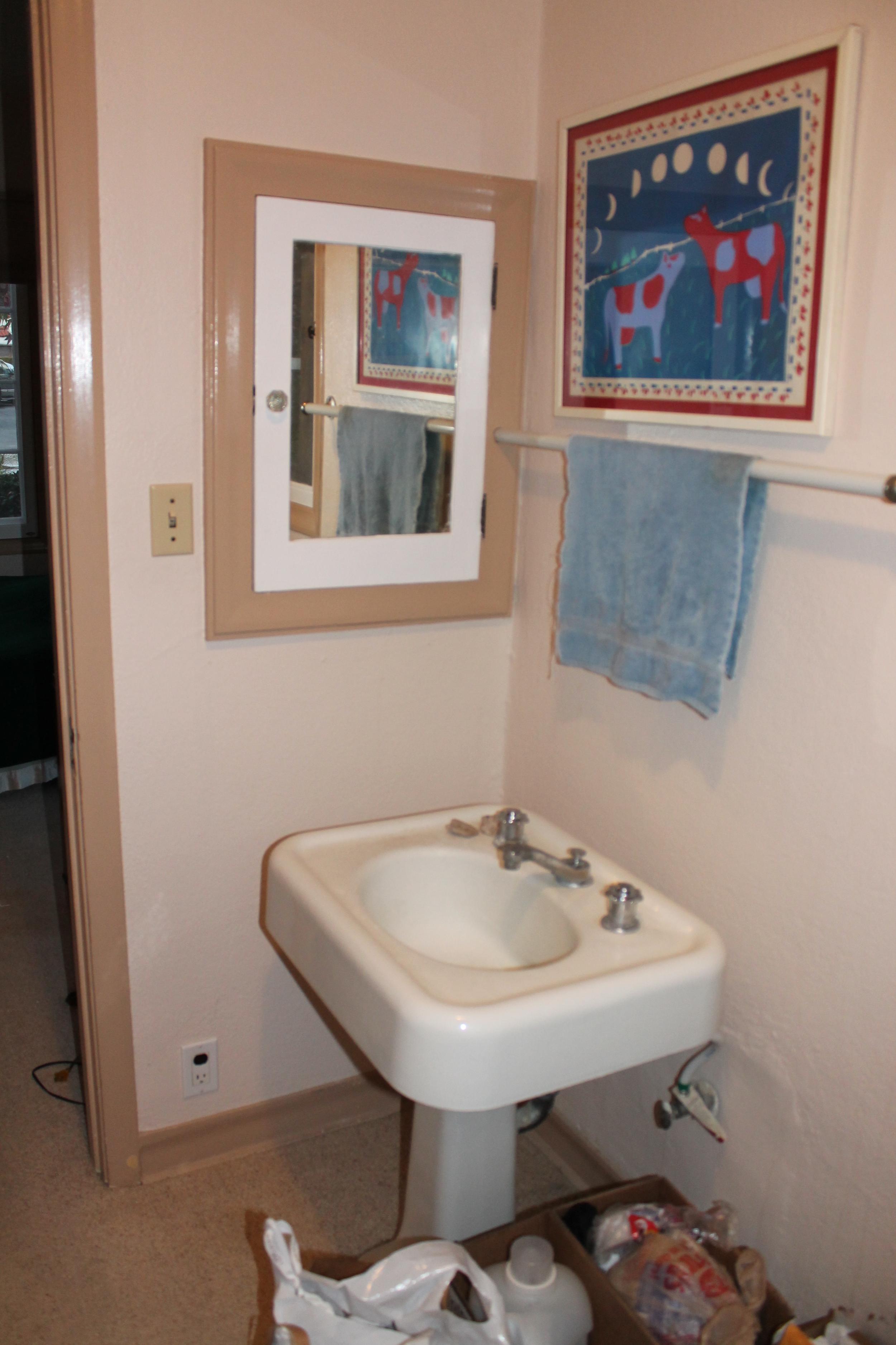 Before: Old pedestal sink,carpeted floors.