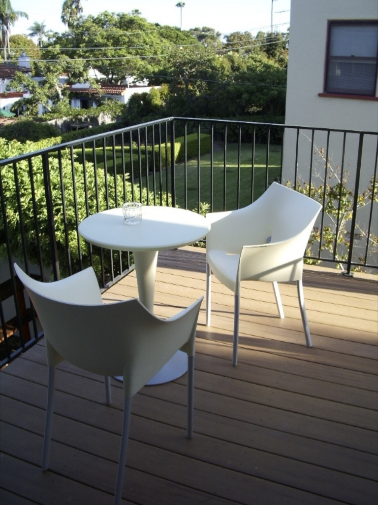 A small deck off the dining area provides a nice spot to read the paper with a cup of coffee.