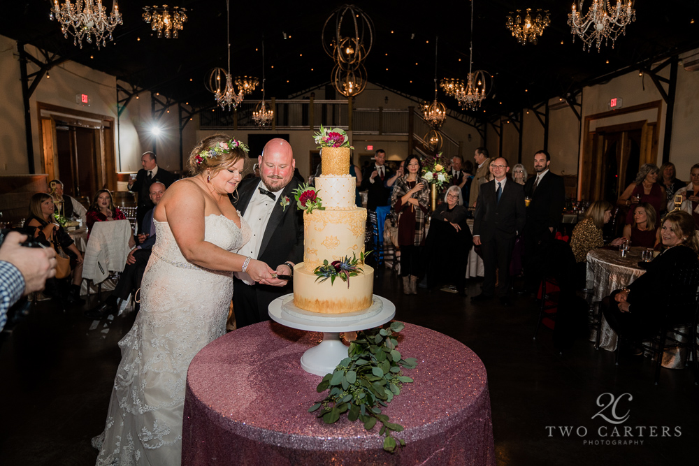 Wedding cake and crystal chandeliers are a wedding day must!