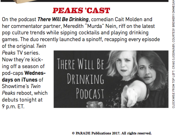 Parade Magazine - May 2017 Issue for Twin Peaks Live Recording Event in Brooklyn
