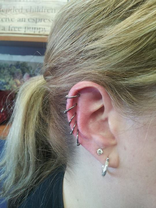 Five Helix Piercings