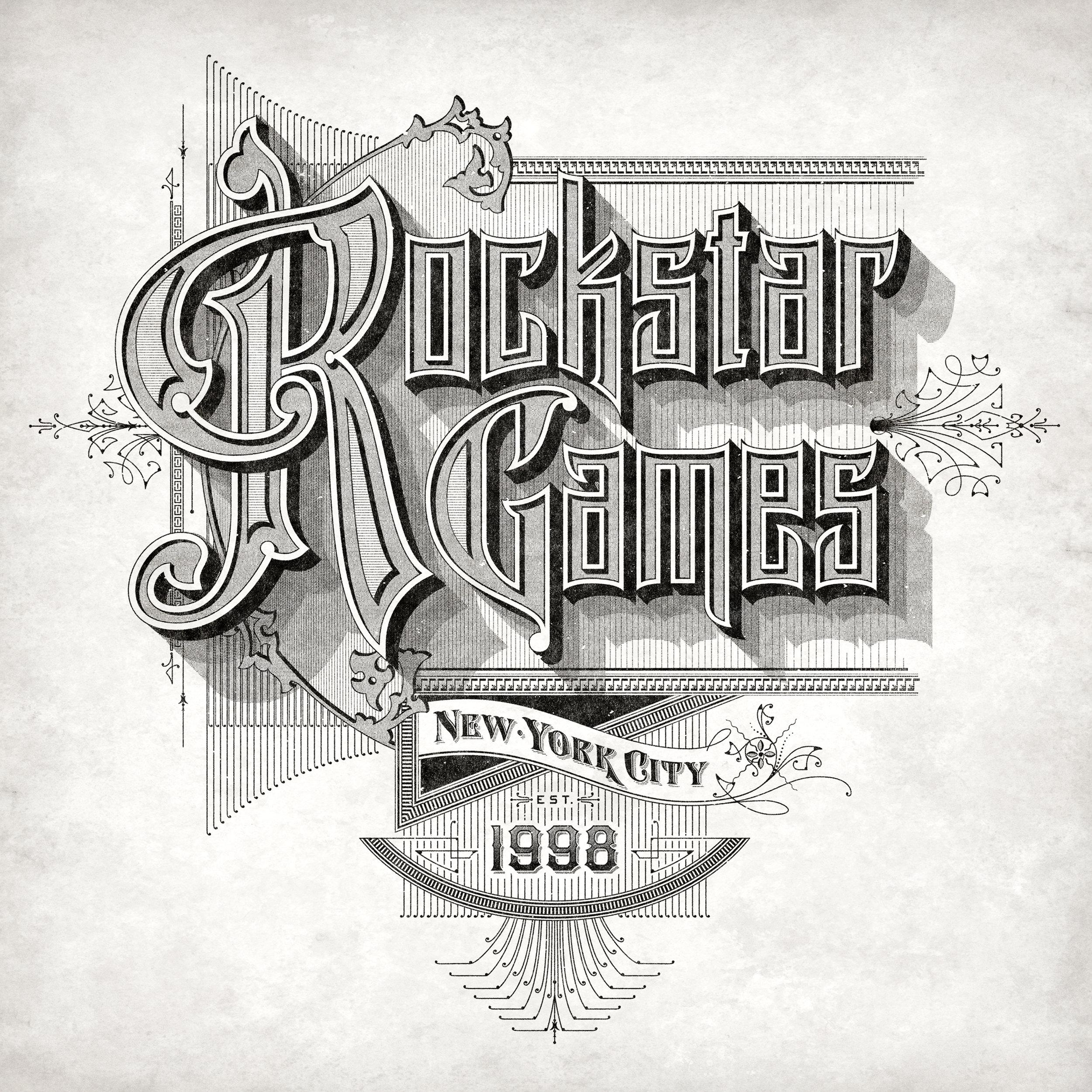 Rockstar Games promotional logo for Red Dead Redemption 2 •  Lettering