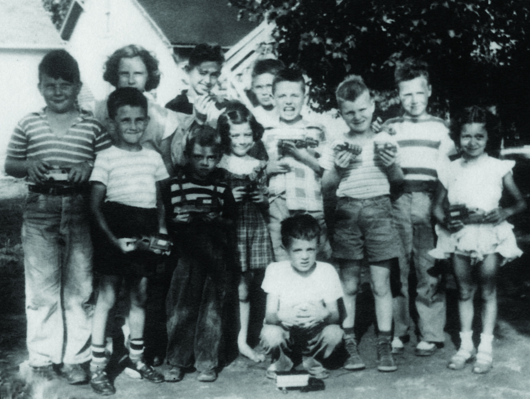 Charlie Ryan on far left (stage right) and his friends.