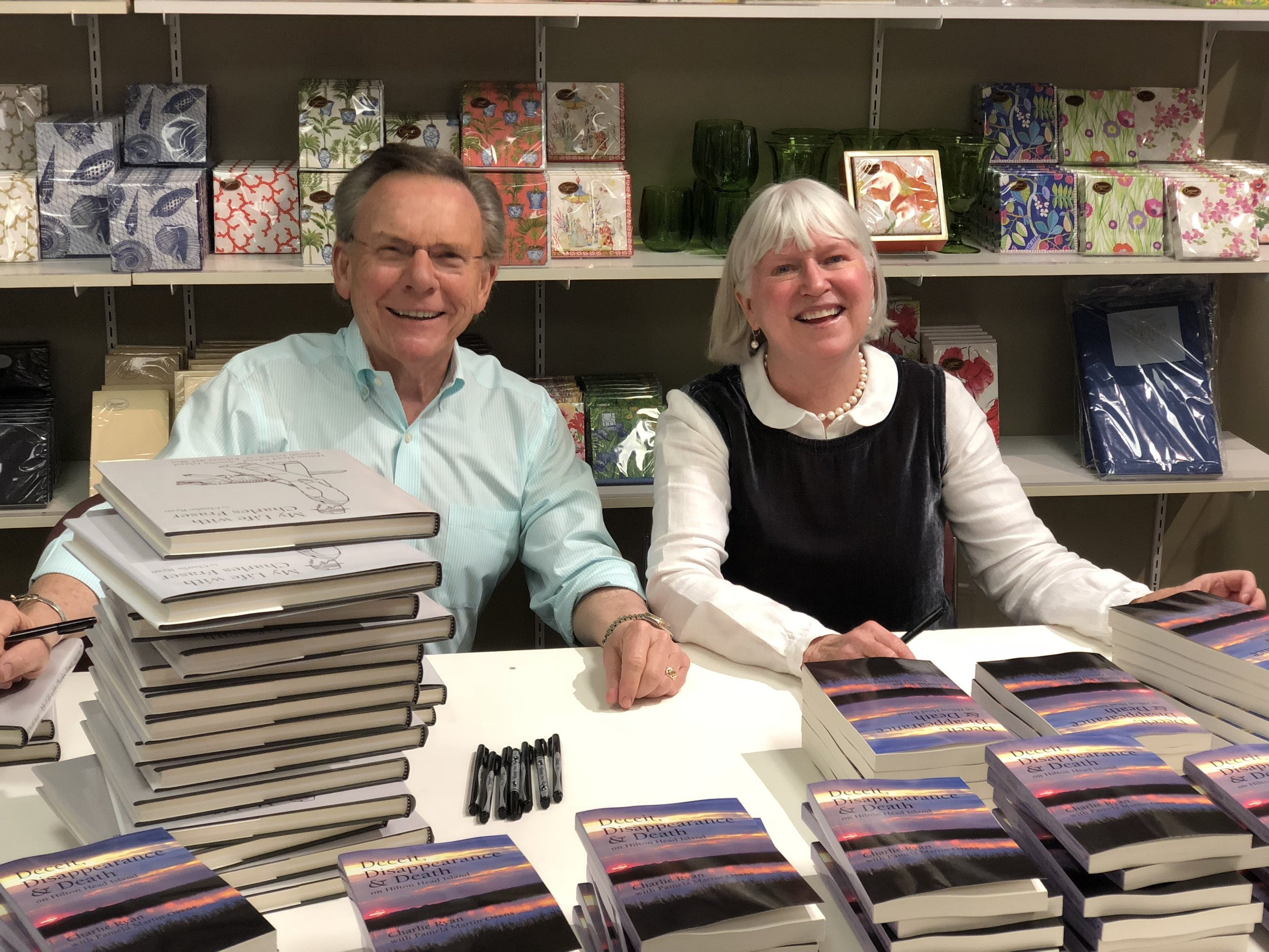 Charlie Ryan and Pamela Martin Ovens at their book launch at Pretty Papers.