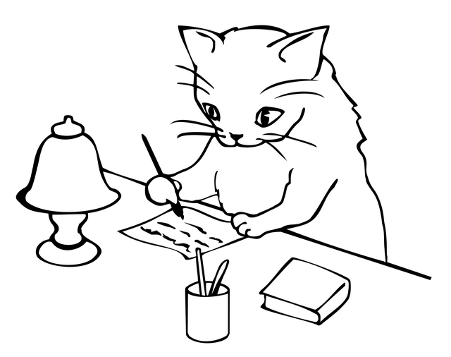 Cat Writing a Letter