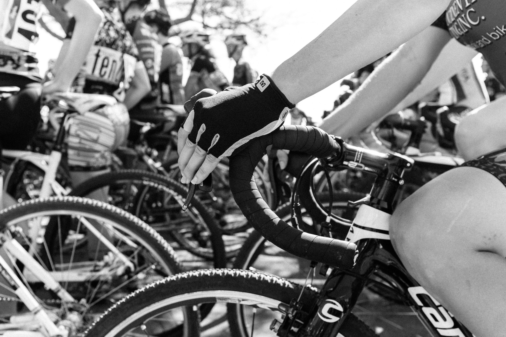 Competitors line up for the women's category 3 races at Rapha Supercross Gloucester