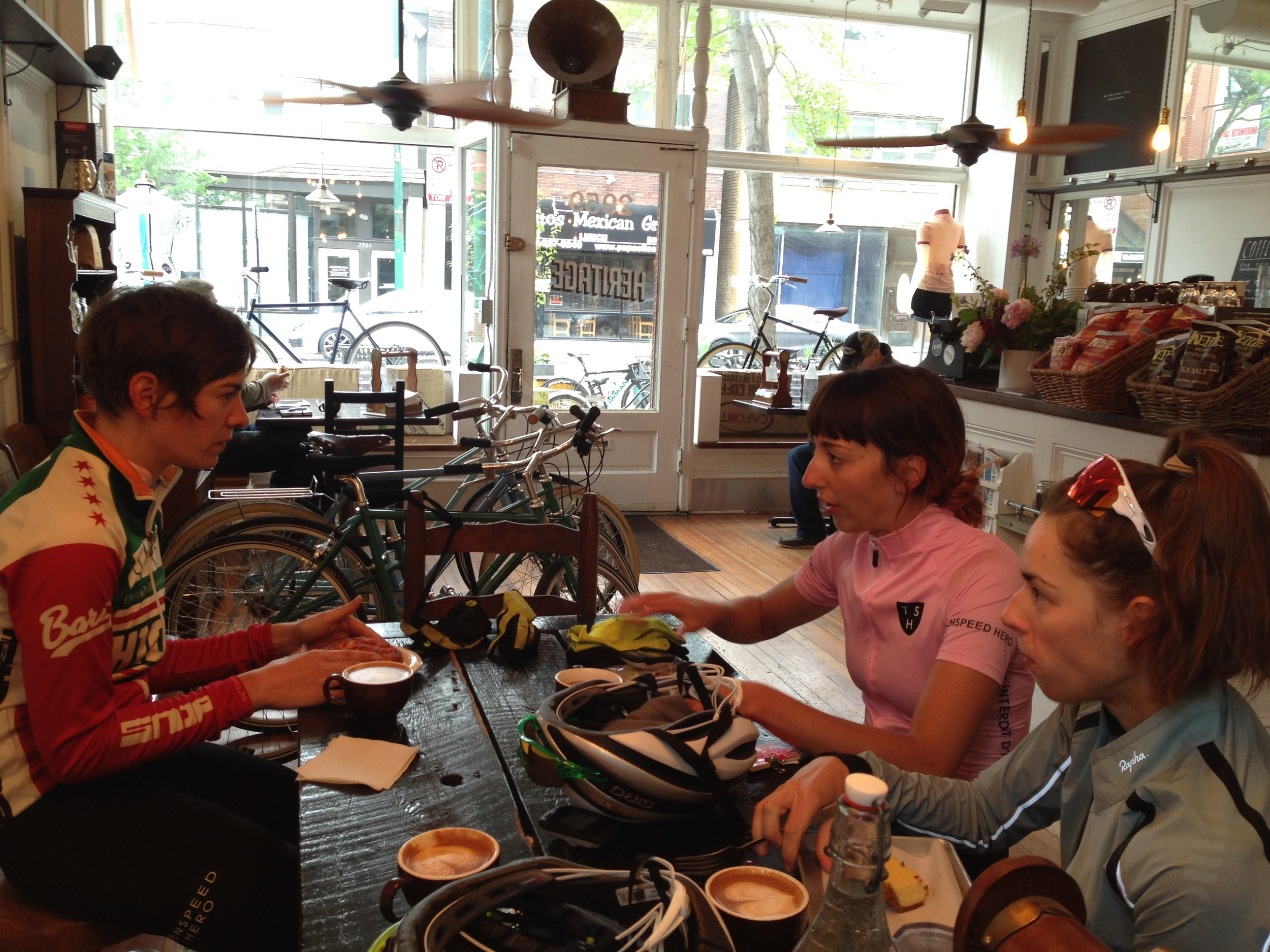 Post ride at Heritage Bikes with Maria Larkin and Daphne K.