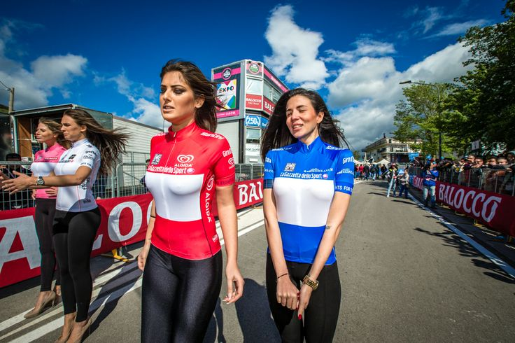 At the finish line in Viggiano, the podium girls at the 2014 Giro d'Italia were outfitted in sexualized versions of cycling kits. Photo by Brake Through Media