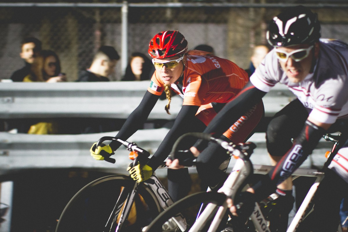 Ingrid Drexel, Olympic cyclist from Mexico races with men in a mixed field at RHC6 in Brooklyn. Photo courtesy of @groovylab