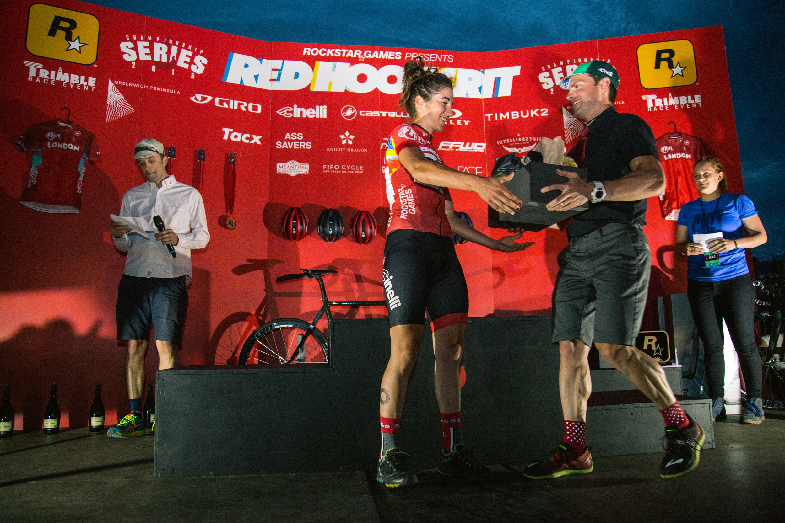 Hannah and David on the podium at the first RHC in London, photo courtesy of @Tornanti_cc