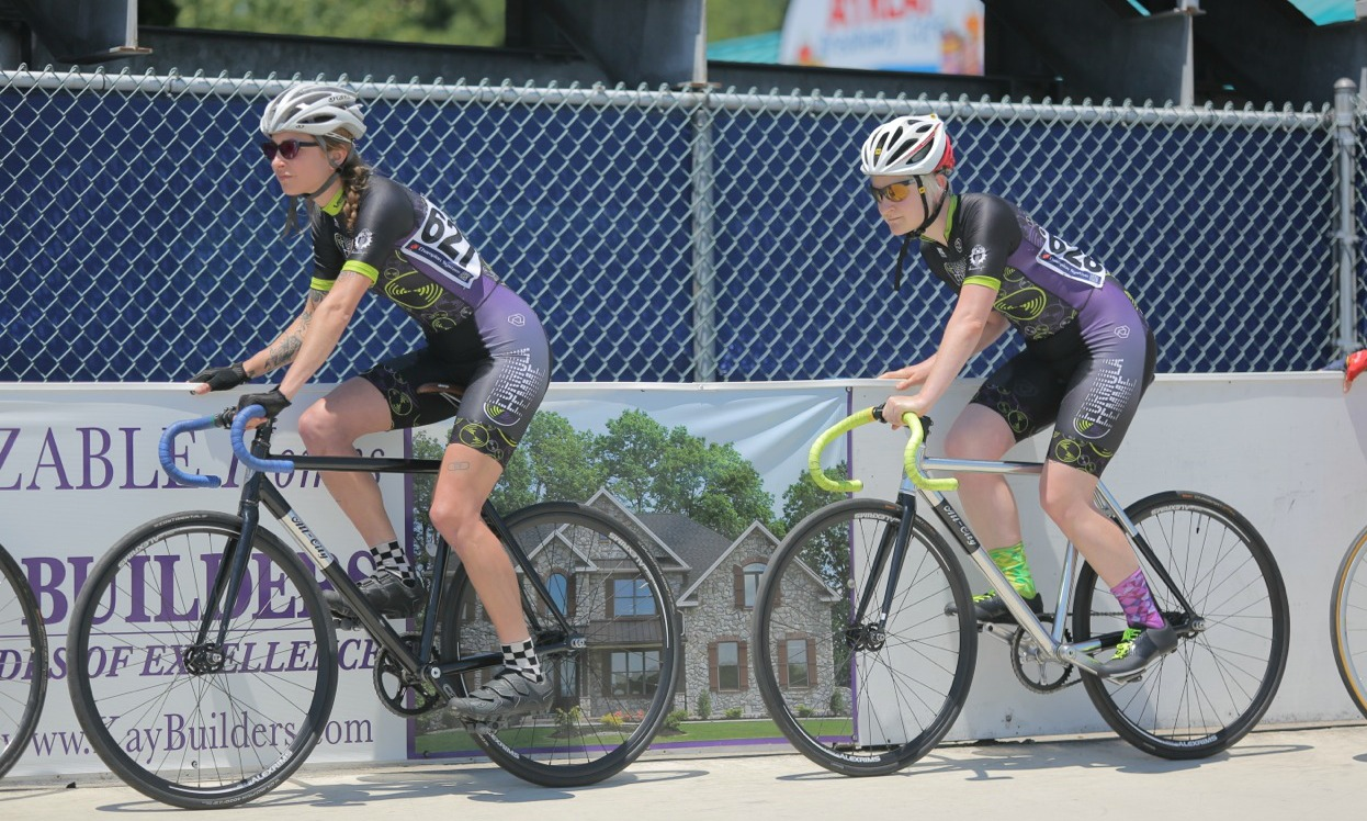 Marcy & Becca lined up on the rail