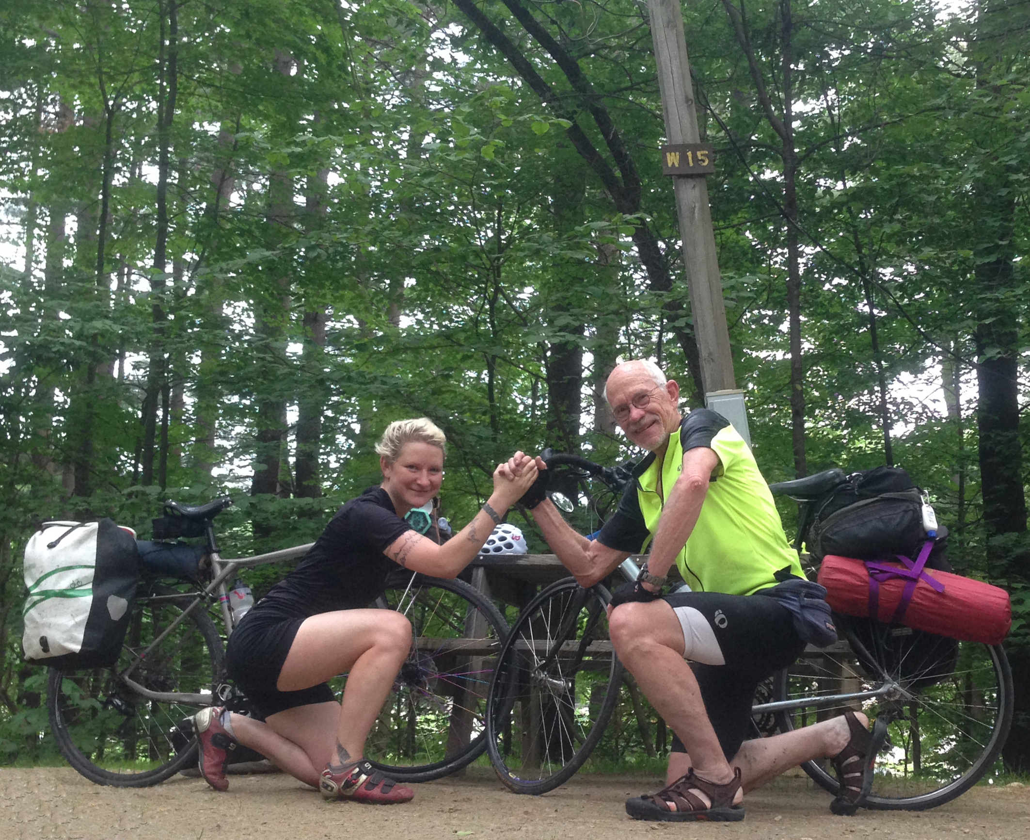 Papa Book's first day of fully loaded bike touring and first ever hard style.