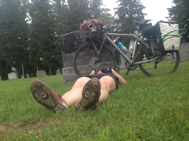Dead Legs after riding a fully loaded touring bike straight into an unrelenting headwind for 80 miles.