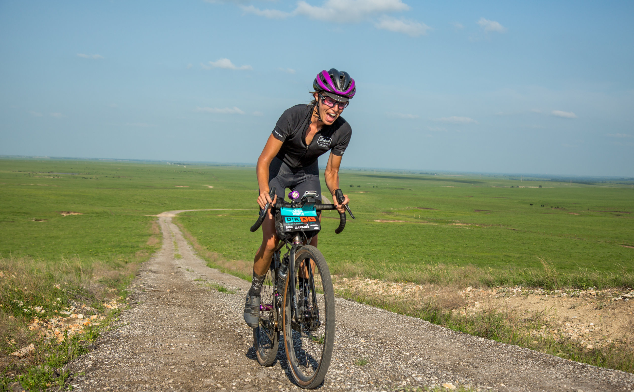 Crystal Wintle, one of 34 riders invited to test an even longer route: the 350-mile Dirty Kanza XL.  Photo by Linda Guerrette