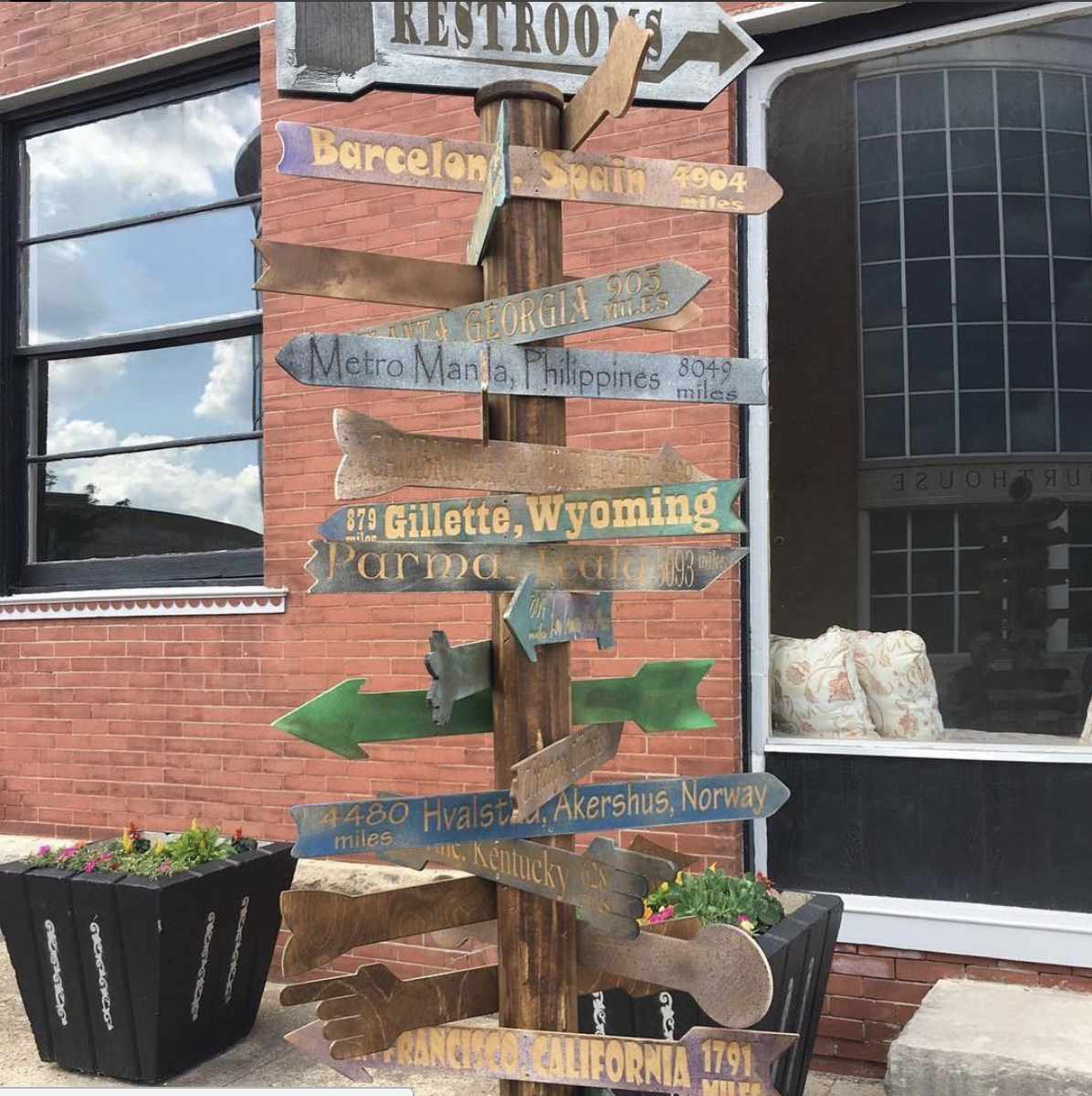 The Emporia High School woodworking class created a handcrafted sign representing the hometowns of Dirty Kanza riders.