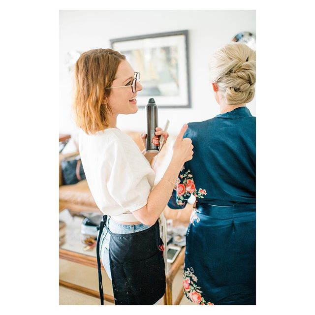 Thanks @katesupaphoto for the action shot where I actually look normal! Most action shots I'm mid-focus which comes across as ... constipated? 🤔😑🤗 ———————————— #hairstylist #actionshot #happyworker #ilovemyjob #oribeobsessed #weddingday #weddinghair #thebackofyoheadisridiculous #thatgoodlight