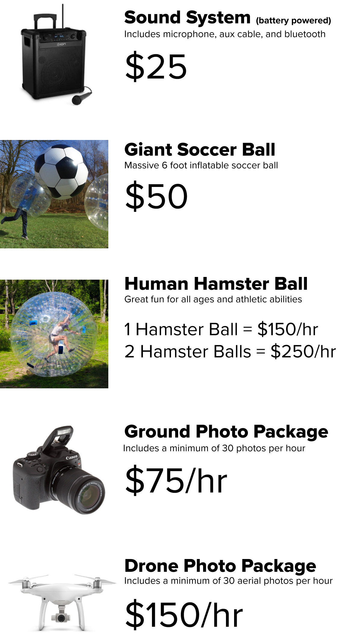BubbleBall MD Rental Add-Ons