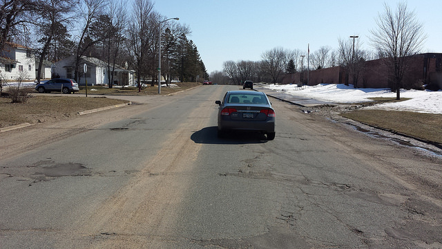Willow St. in front of the church. It is 44 feet wide with little traffic.