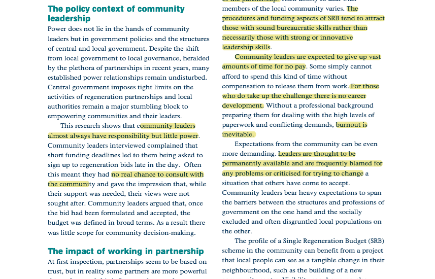 Highlights from:STRENGTHENING COMMUNITY LEADERS IN AREA REGENERATION