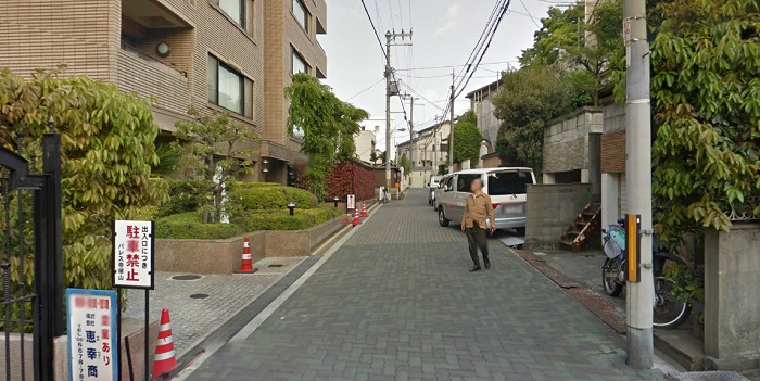 Osaka, Japan. 18 feet wide but with some obstacles (walls, planter boxes, etc.)