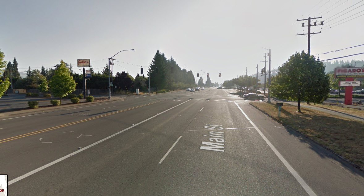 A typical stroad, this one in Springfield, Oregon. Click on the photo to look at the site in Google Maps.
