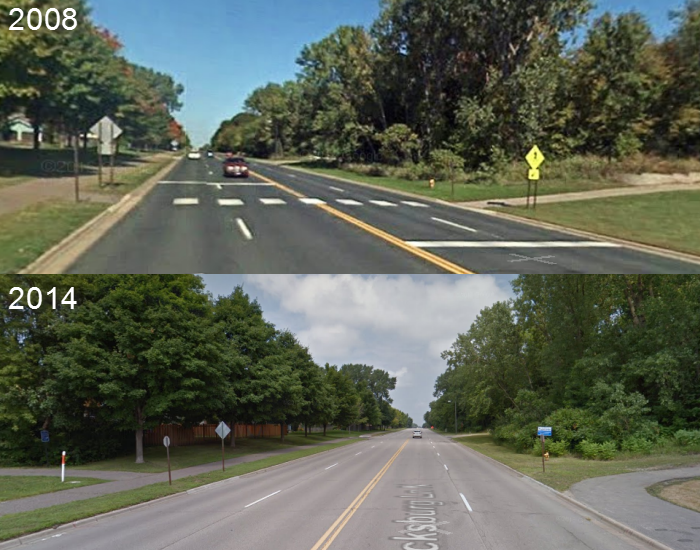 """The """"improved"""" intersection is on the bottom."""