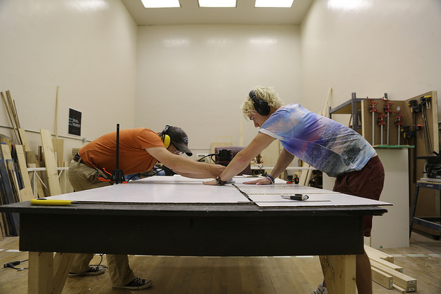 Two of five people using the woodshop on a Thursday afternoon.