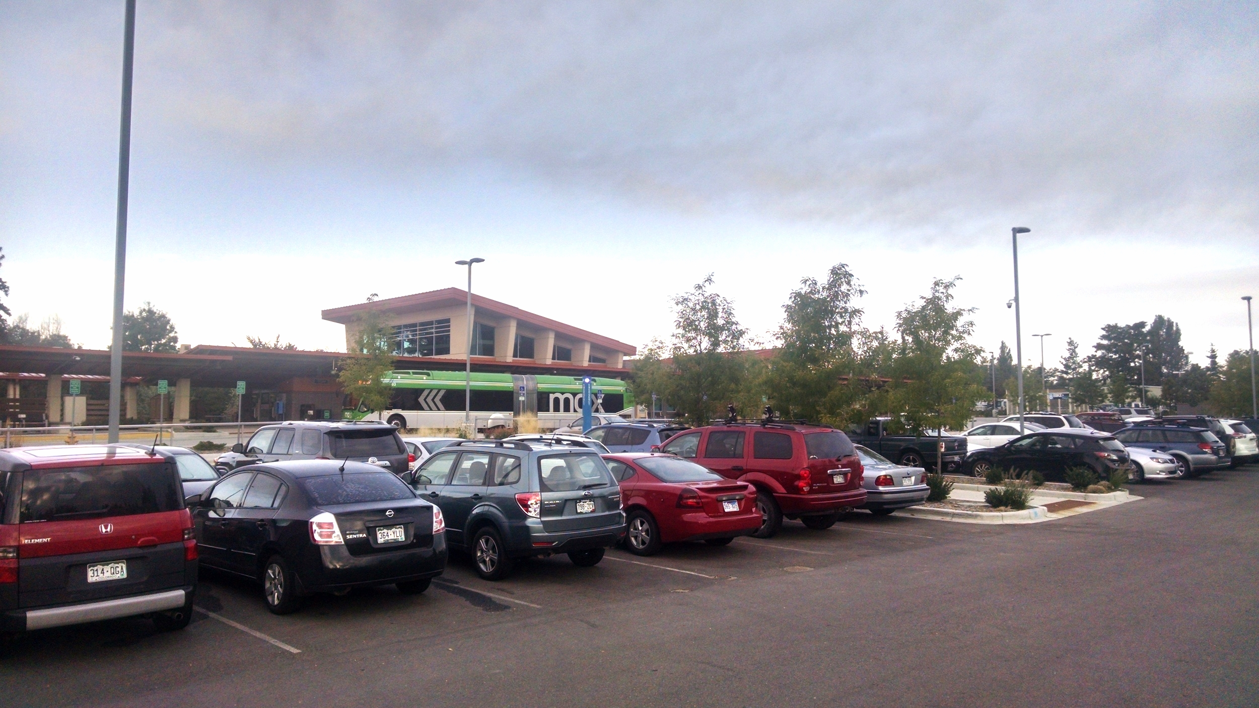 South Transit Center parking lot fills up with park and ride commuters.