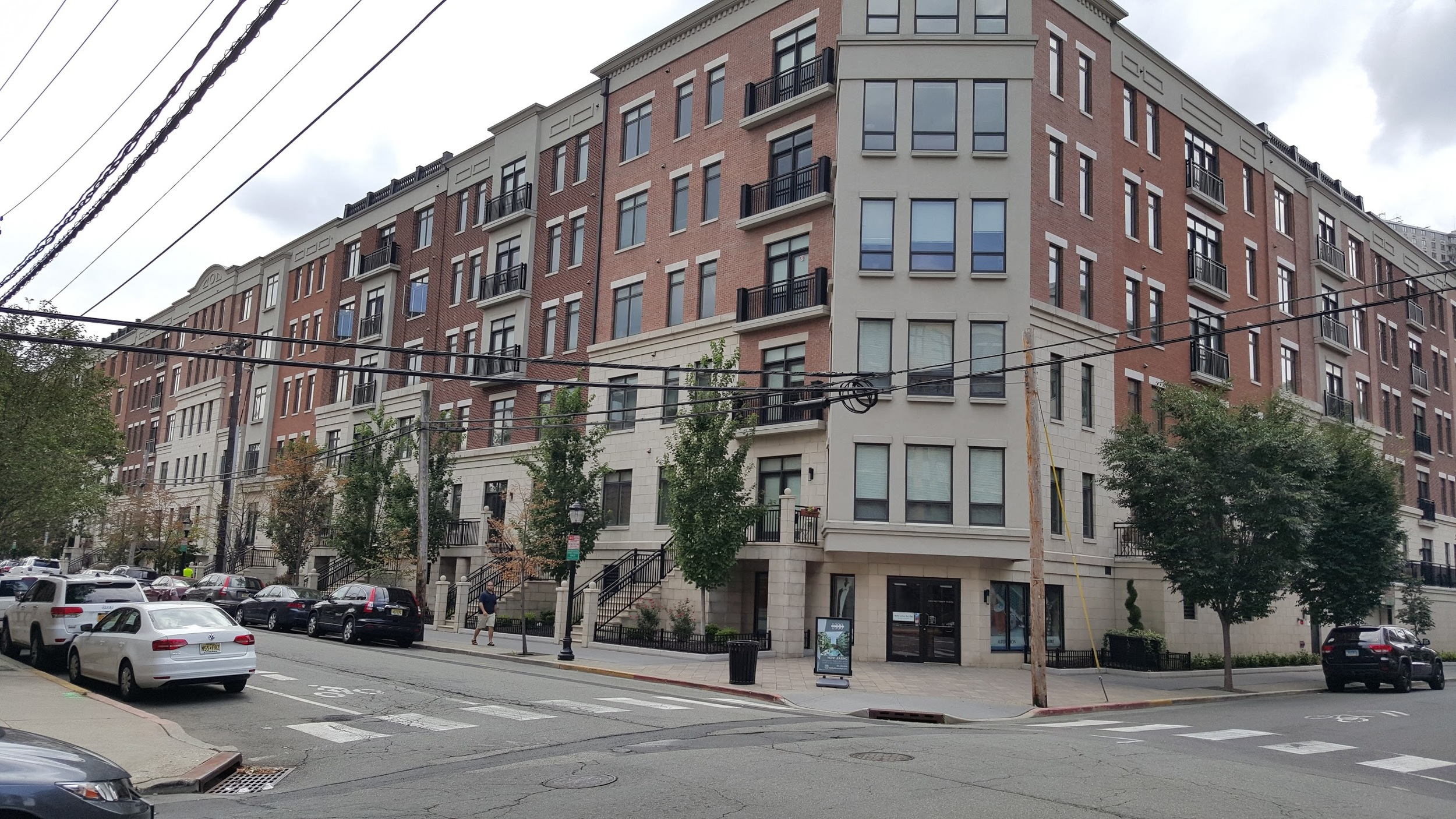 A new medium-rise apartment building in Hoboken taking up an entire block.