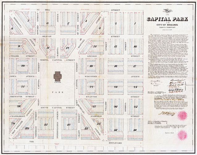 Land subdivided and platted down to individual lots. City of Bismarck, Dakota Territory, 1883.