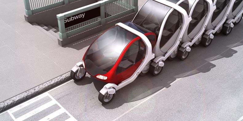 Stacked citycars Photo:  MIT