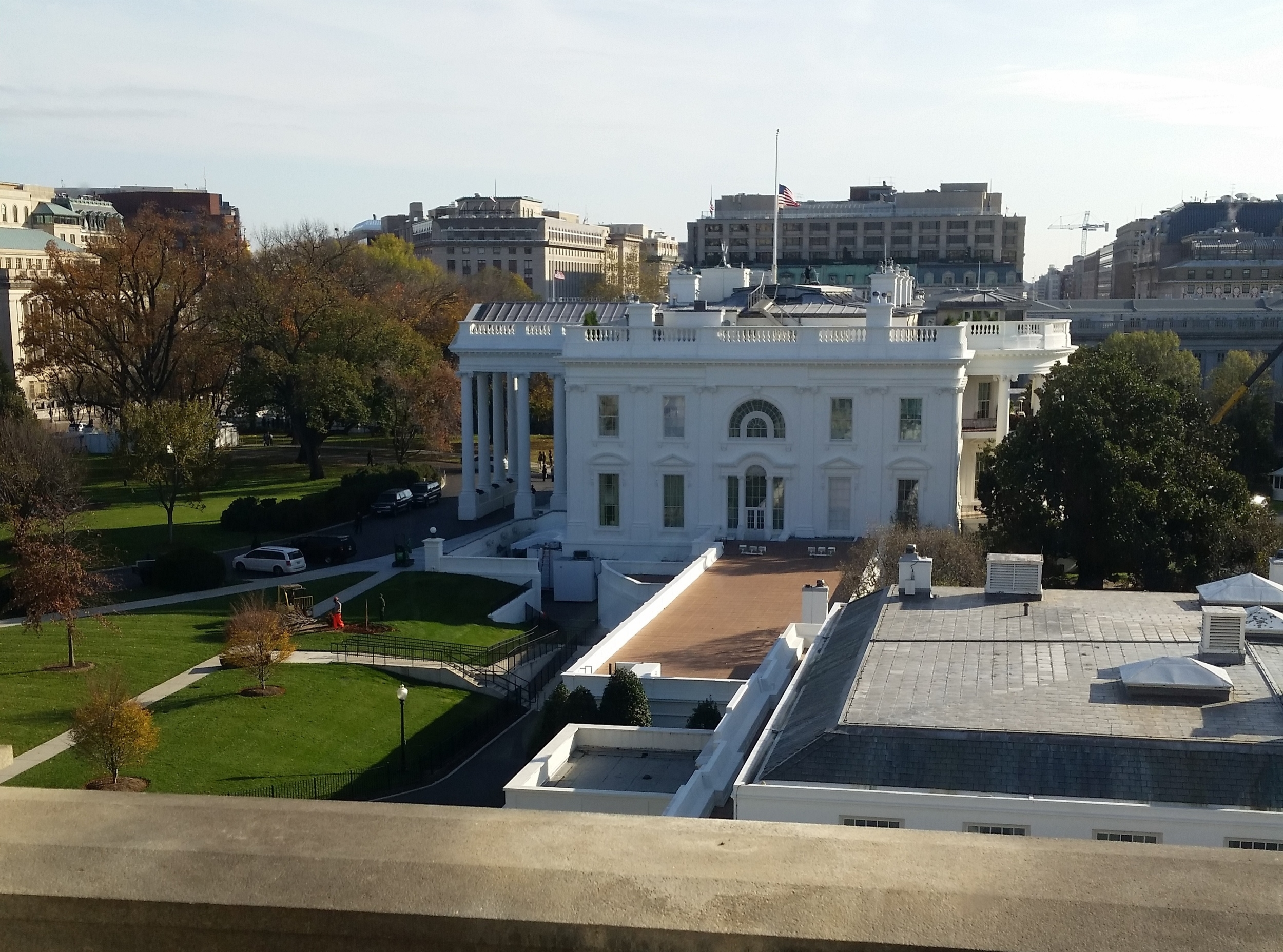 The view of the West Wing from our meeting room.