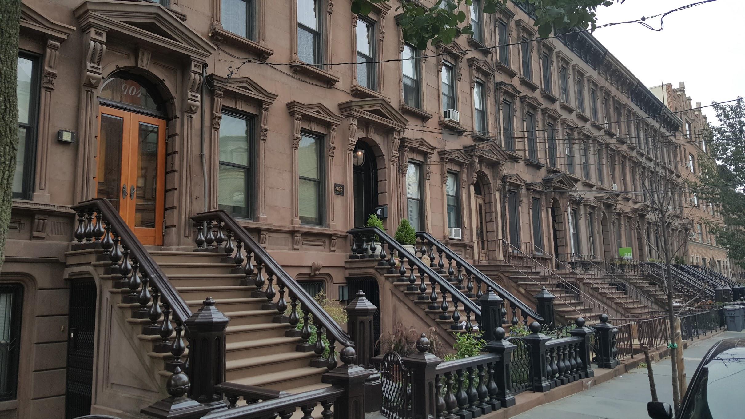 Traditional homes along my street in Hoboken.