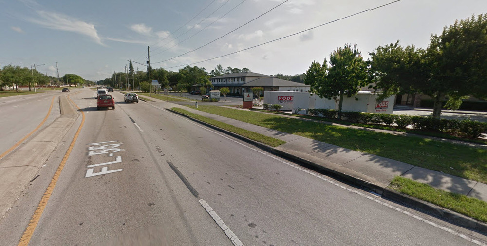 A classic Florida stroad; part street, part road, it combines fast moving cars with turning traffic and adjacent pedestrians in the most dangerous, costly and financially unproductive investment a city can make. Click on the image to explore the area around the daycare in Google Maps.