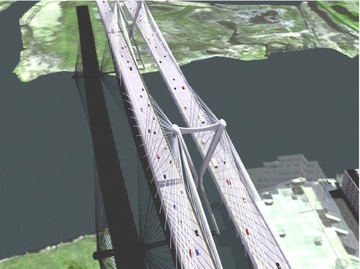 Artist rendering of a proposed bridge between New Jersey and New York. Image from  Wikimedia .