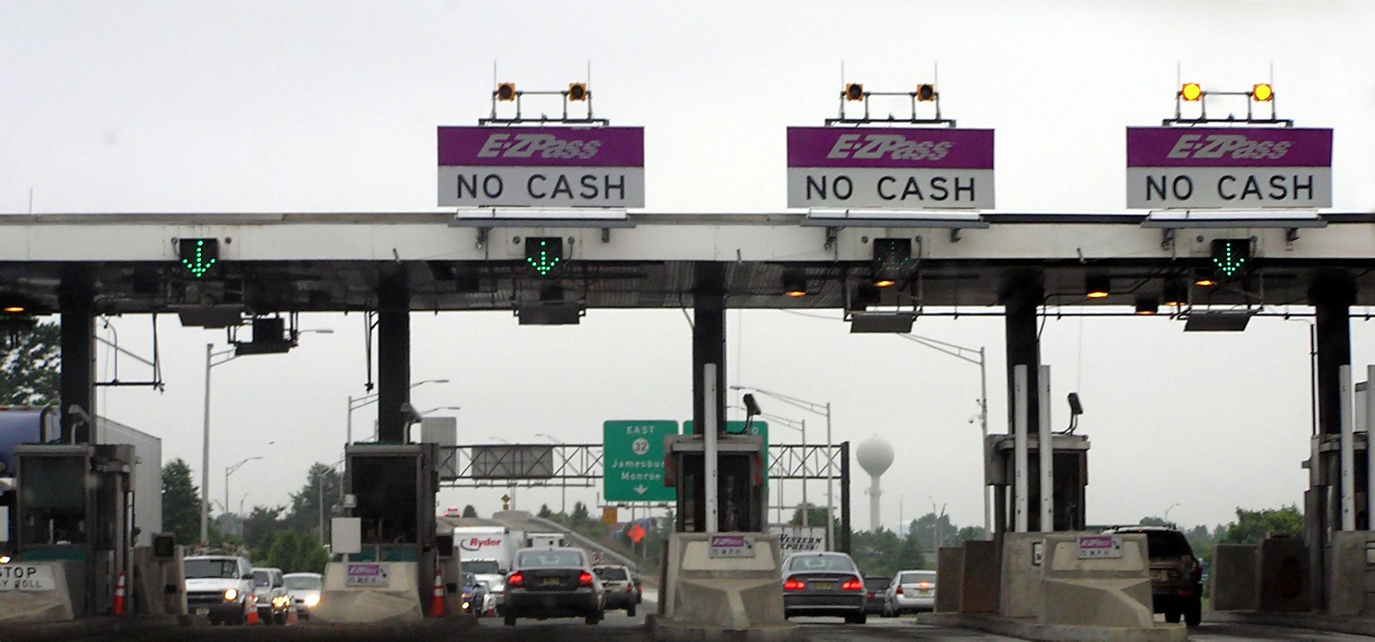 A toll gate along the New Jersey Turnpike.