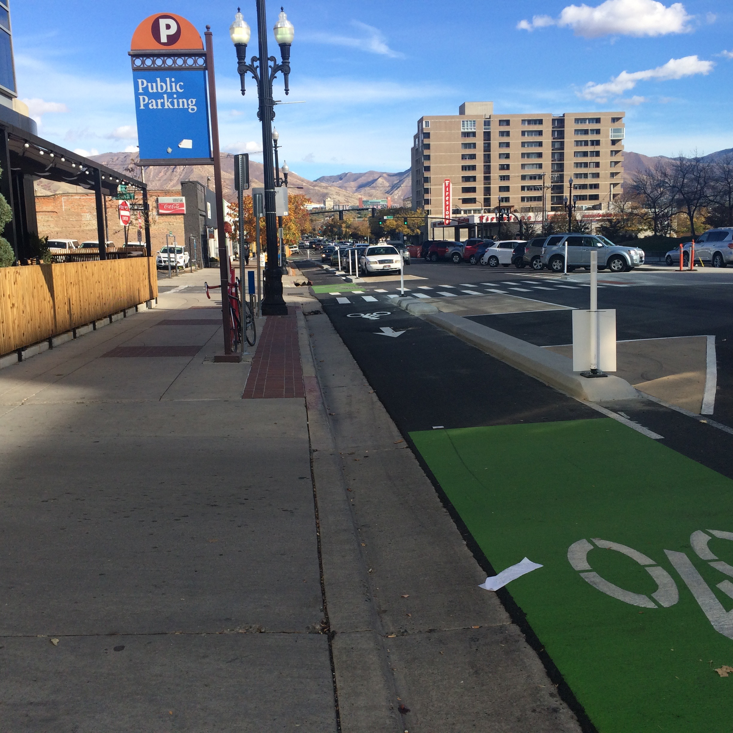 New protected bicycle lanes in Salt Lake City.