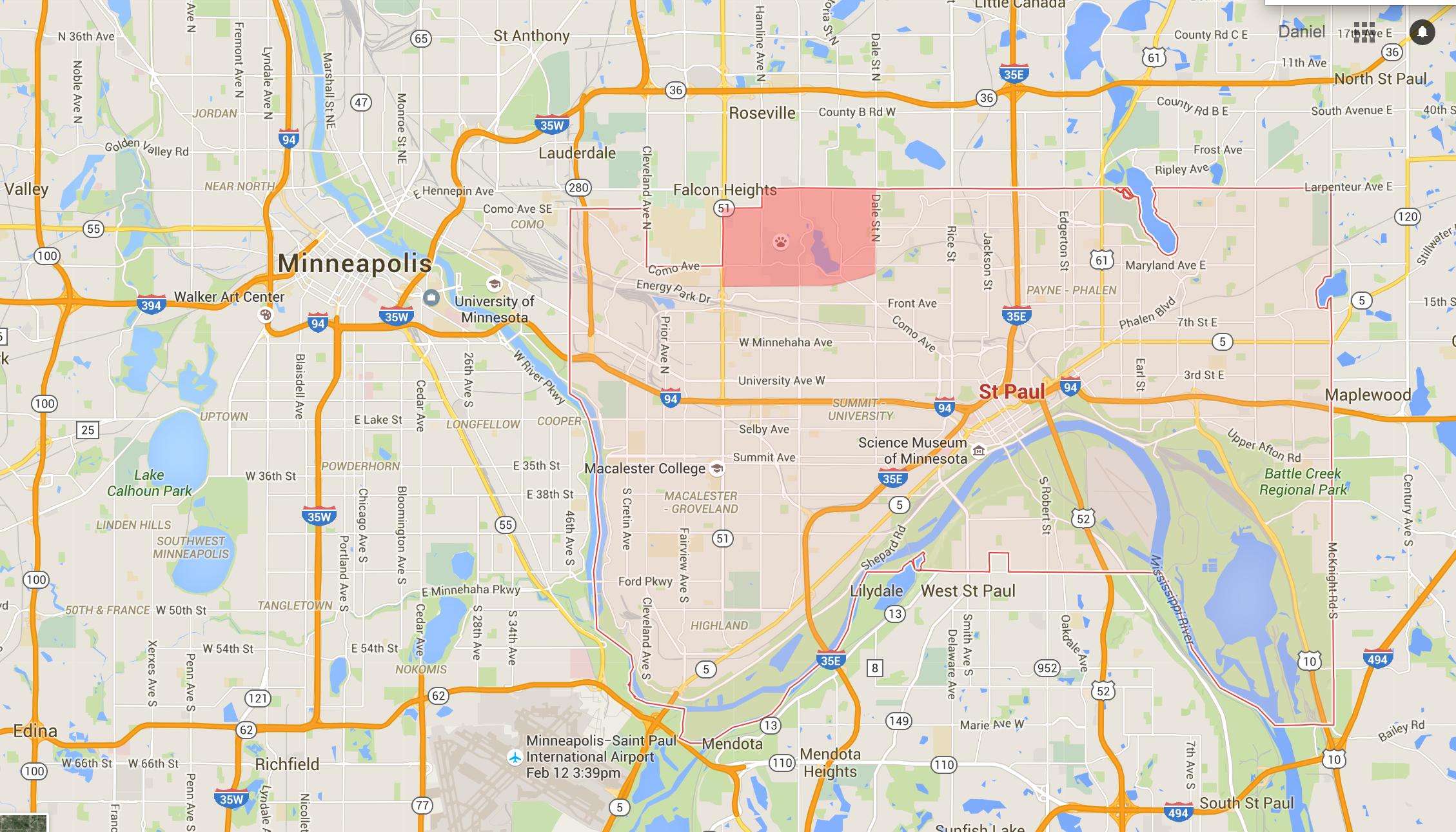 Como neighborhood on a map of St. Paul. Source: Google