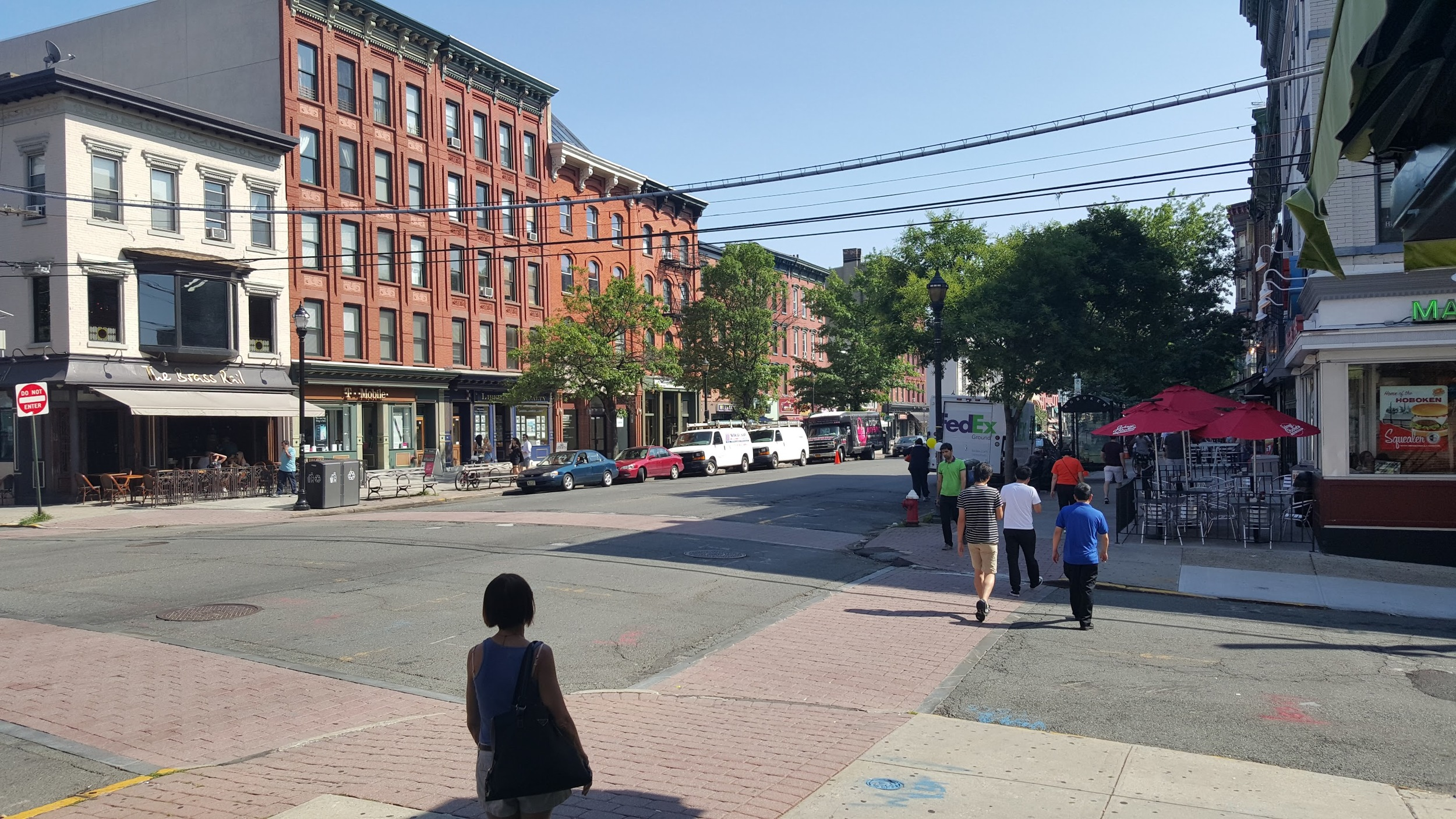 Jaywalking at the first opportunity in Hoboken.