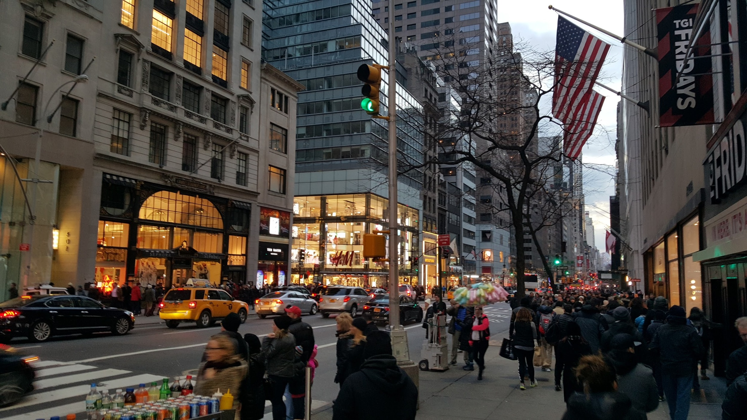 A busy multi-lane avenue in Manhattan that I would not dare to jaywalk.