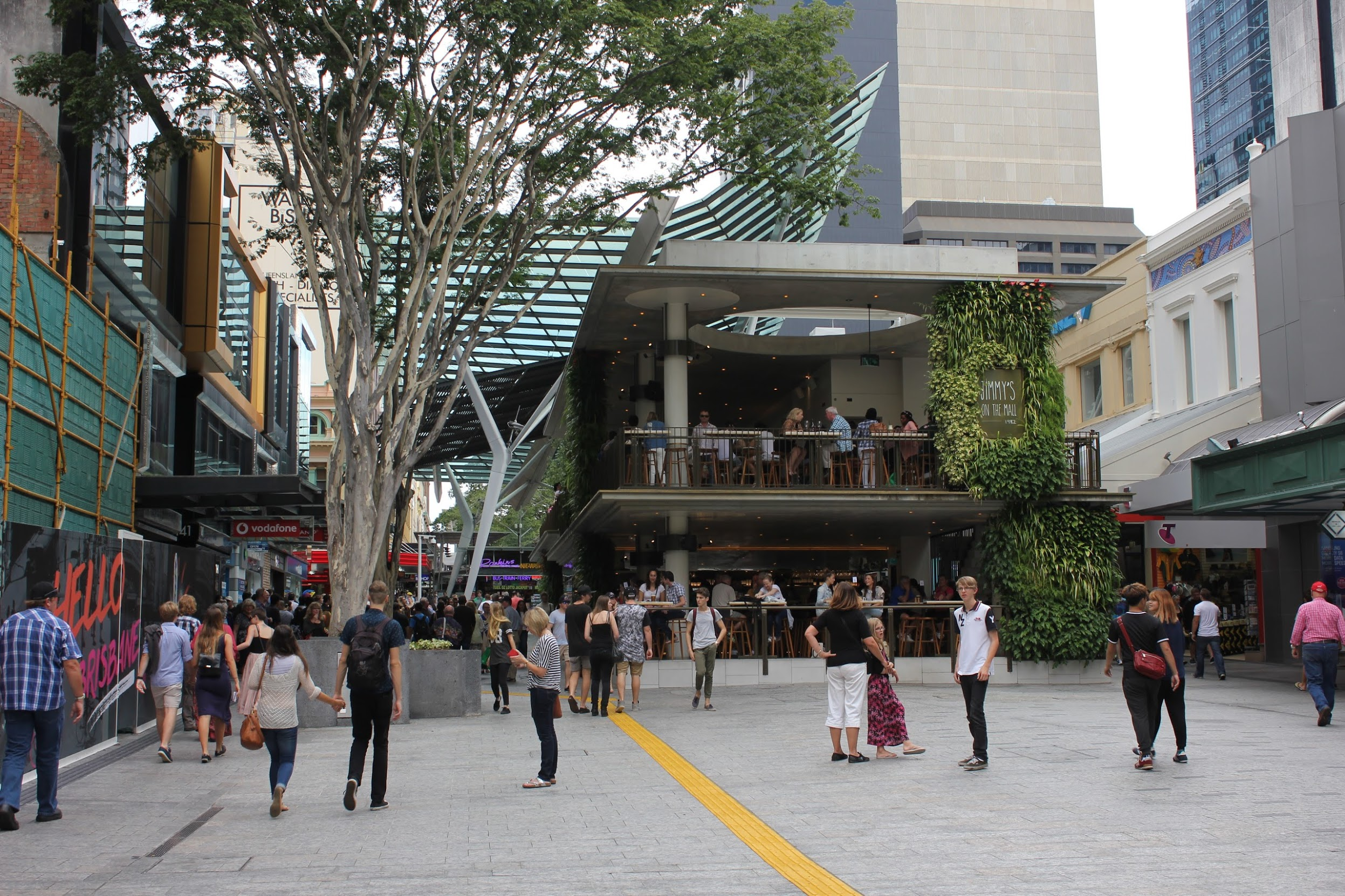 A two story restaurant in the middle of a pedestrian mall in Brisbane