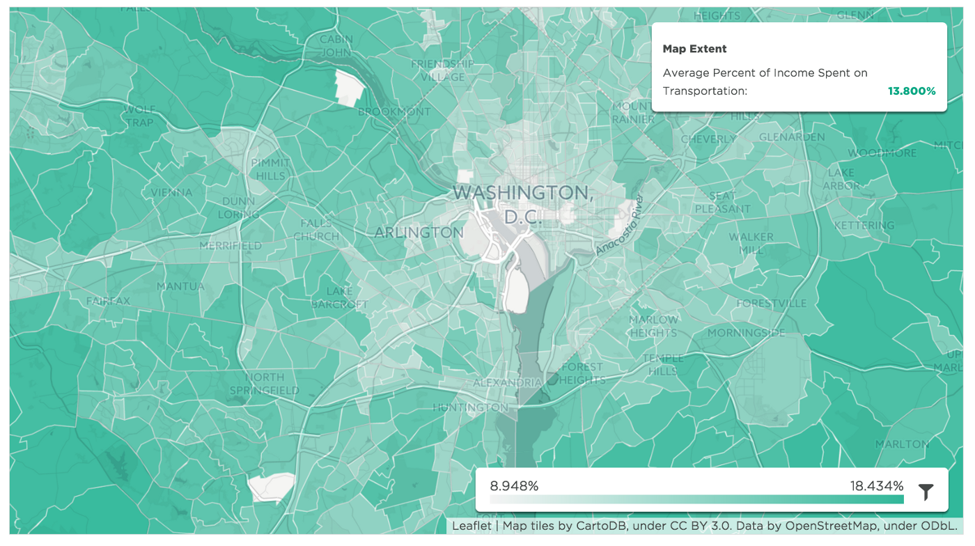 Washington, DC: Average Percent of Income Spent on Transportation. Source: mySidewalk, U.S. Department of Housing and Urban Development (HUD) and the U.S. Department of Transportation (DOT): Location Affordability Portal, Version 2: Location Affordability Index.