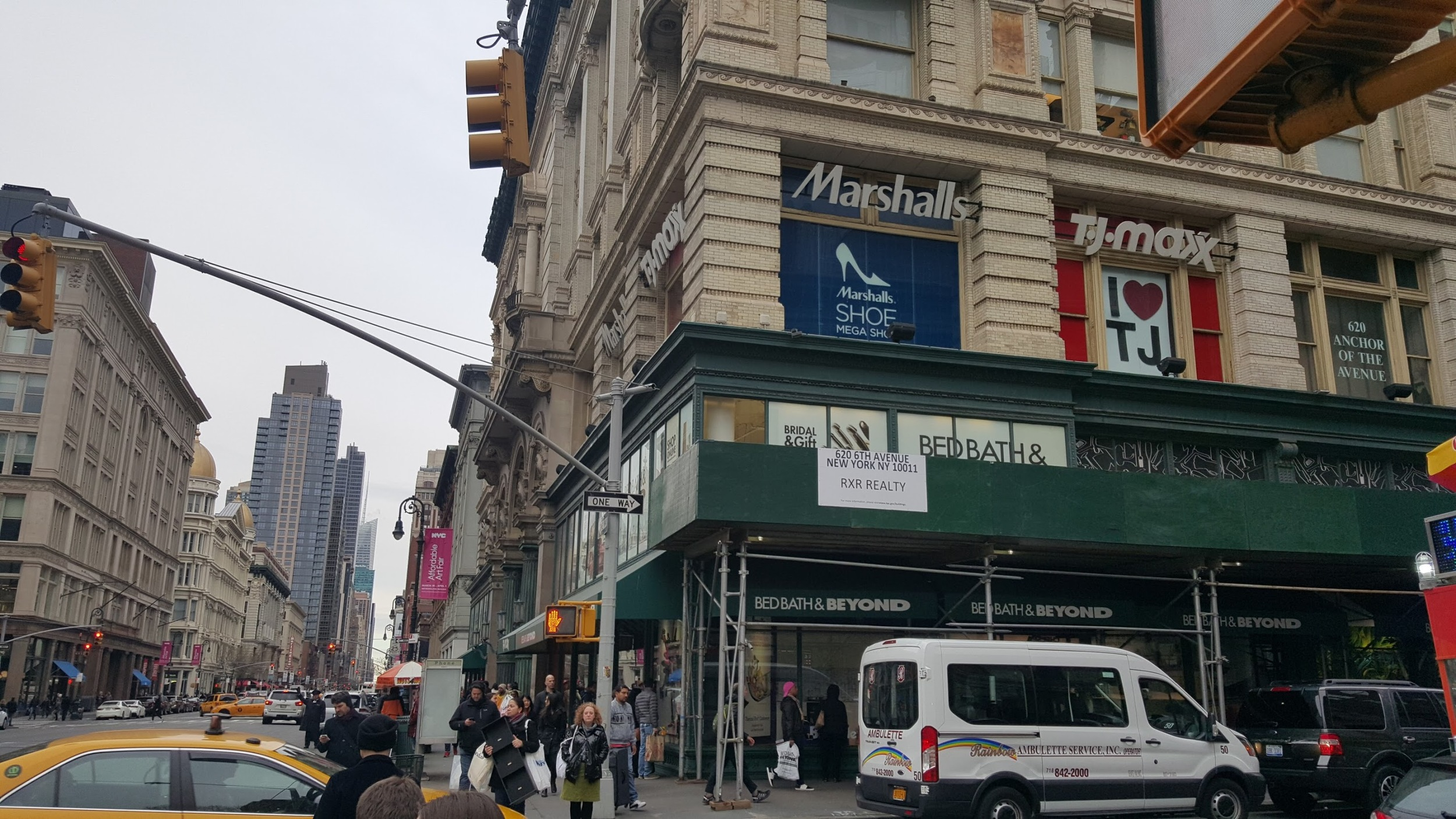 My wife loves  6th Avenue - Avenue of the Americas.  This building contains a World Market, TJ Maxx, Marshalls, and Bed, Bath & Beyond.  The Bed, Bath & Beyond here is huge - it might as well be Walmart!