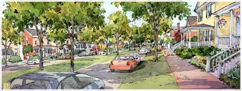 Mock-up of a redesign of a local street,Fairfax Boulevard